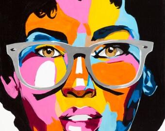 Benny Bing - Large Abstract Woman Portrait Acrylic Art Print