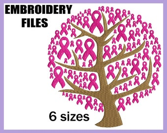 Breast Cancer Ribbons Tree - Design for Embroidery Machine Digital Graphic File Stitch Instant Download Commercial Use pink charity 71e