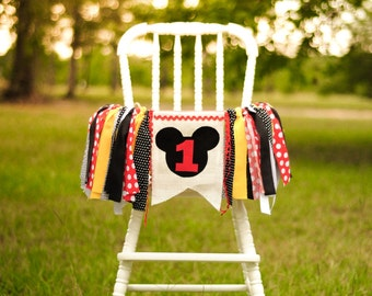 Mickey Mouse inspired birthday high chair banner, garland, smash cake decoration, or photo prop