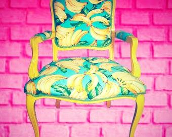 Chair Louis XV Banana Fabric Tommy Bahama yellow frame colorful banana side chair