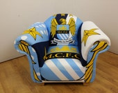 Childs Armchair in Manchester city FC theme fabric