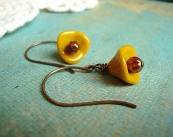 Yellow Bud Earrings. Mustard Yellow and Rust. Rustic Earrings. Rustic Flower Earrings. Woodland Earrings
