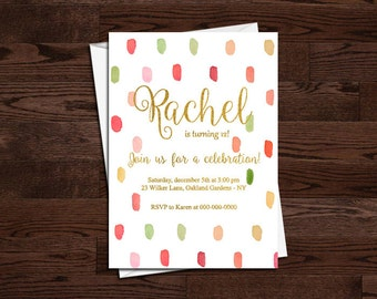 Birthday Invitation, Simple, Elegant, art party, girls, kids, teens, adult, teenager, gold, pink, modern, 1st 2nd 3rd, watercolour, 4x6 5x7