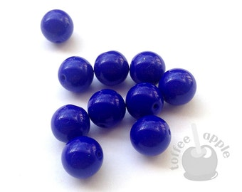 FREE P&P 10 x 10mm Czech Pressed Glass Opaque Royal Blue Beads