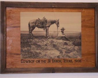 Historical Engraving on Wood--Cowboy on the JA Ranch, Texas, in 1908 --FREE SHIPPING!--