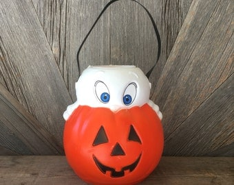 Vintage Empire Halloween Bucket {Blow Mold Ghost and Pumpkin Trick or Treat Basket from the 1980's}