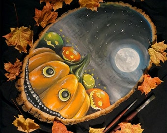 The Fallen Apples (original) - Halloween Painting, Pumpkin, Autumn, Fall, Jack O Lantern, Spooky, Fairytale, Fantasy, Original, Thanksgiving