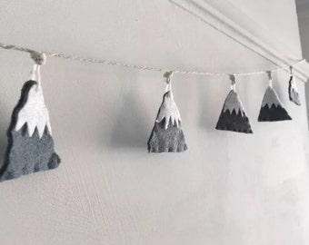 Mountain Bunting, Wall Decor, Mountain Garland, Grey, White Garland, Mountain Decor, Garland, Bunting, Handmade Mountains