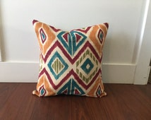 Burgundy Aztec Pillowcase - Blue Aztec Couch Pillow - Aqua Aztec Pillow - Orange Aztec Pillowcase - Teal Aztec Throw Pillow - Teal Aztec