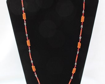 A Orange and Red Coiled Necklace with Matching Earrings, Handmade with Twisting Jewellery Wire, Silver Coated Wire,