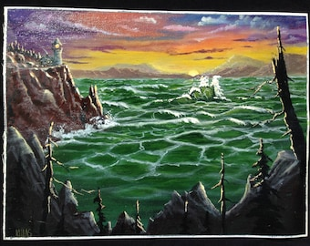Original Hand Painted Acrylic Painting Out Door Scenery Sunset Lighthouse On Canvas 9x12