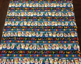 One yard Bright and Happy Christmas Snowman Cotton Fabric for Sewing and Quilting