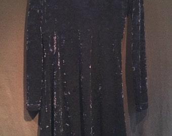 60s inspired Crushed Velvet Dress