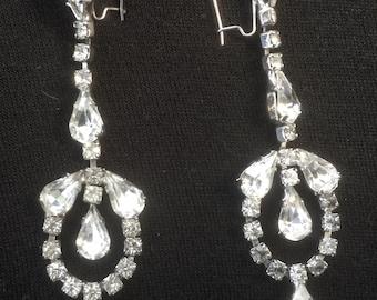 Clear Rhinestone Pierced Teardrop Pendant Earrings