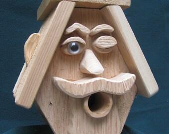 One-Eyed Man Cedar Birdhouse, interior/exterior decor, expressive 3D faces, great gifts, handmade in Northern Minnesota, western red cedar