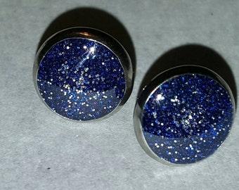 Blue & Silver 12mm Stainless Steel Earrings