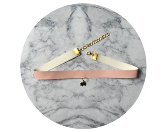 Baby Pink Leatherettte Choker with Gold Elephant Pendant.