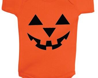 Pumpkin Face Jack-O-Lantern Halloween Onesie Bodysuit Scary Pumpkin Face Tank Top  Halloween Pumpkin Baby Onesie