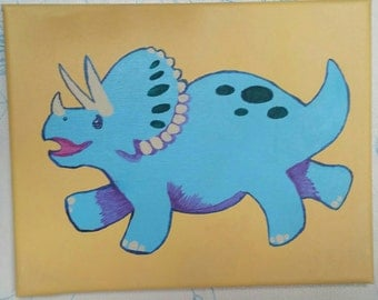 Cute Triceratops Painting for Kids Room - Dinosaurs Rock!