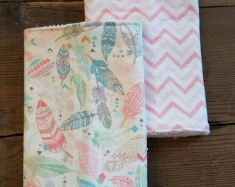 Set of 2 Feather and Chevron Burp Cloths