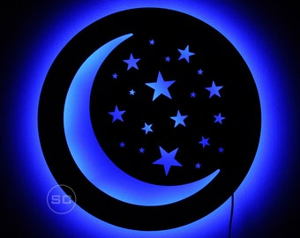 Lighted Crescent Moon Wall Sign - Crescent Moon and Stars Night Light