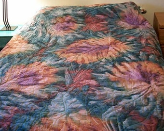 Batik Leaves whole cloth queen size quilt - Used