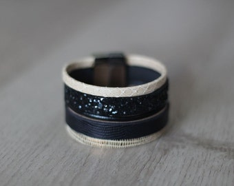 Black and beige leather Cuff Bracelet