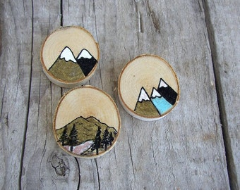 Nature Fridge Magnets, 3 Mountain Magnets, Cute Fridge Magnets, Refrigerator Wood Magnet, Adventure Gift, Stocking Stuffer, Kitchen Decor