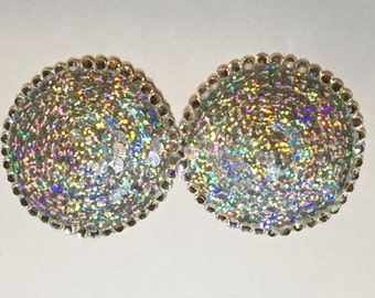 Silver Sequin and Swarovski Crystal Burlesque Pasties, Nipple Covers, Boudoir, Bridal