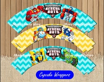 Rescue Bots Cupcakes wrappers, Transformers Rescue Bots Cupcakes wrappers instant download, Printable Rescue Bots party Cupcakes wrappers