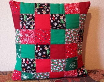 Handmade Patchwork Quilted Christmas Pillow