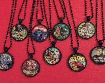Classic Horror Film Pendant Necklaces, Horror Movie Necklaces, Old Horror Movie Pendants, Classic Horror Movie Jewelry