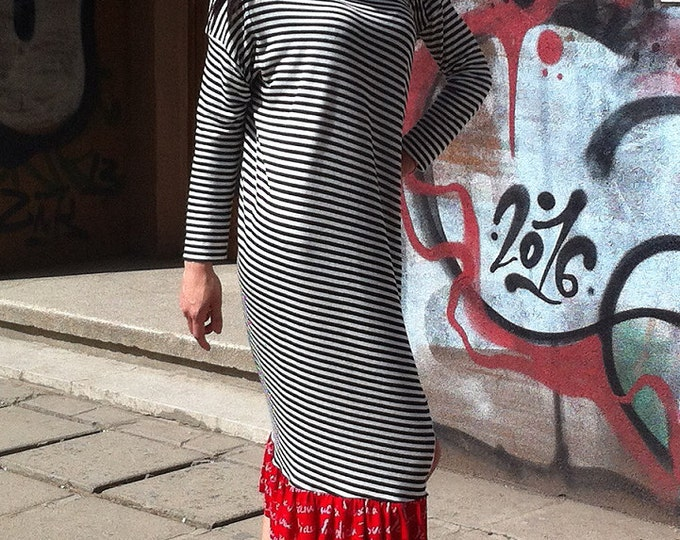 Avant Garde Stripe Red frill Dress / Asymmetric Black White Dress / Loose Maxi Deconstructed dress