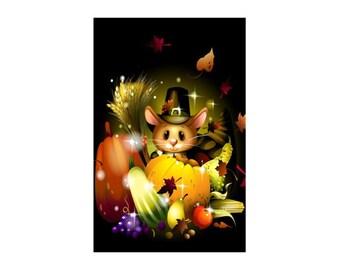 "Thanksgiving Pilgrim Mouse ~ Thanksgiving Card ~ 5"" x 7""  Portrait, Folded ~ Set of 5, 10, 15, 20, 25"