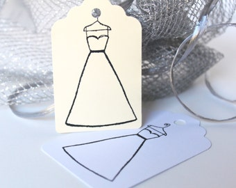 Bride Gift Tags, Shower Gift Tag, Brides Dress Gift Tags, Wedding Gown Hang Tags, Formal Hang Tag, Wedding Gift Tags