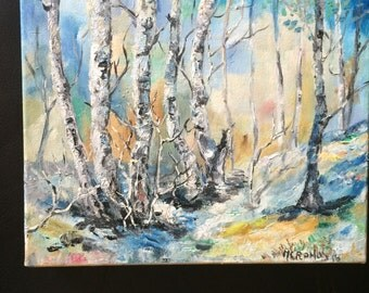 Landscape, forest with trees handmade, oil on canvas