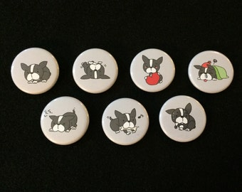 Boston Terrier Buttons - Set of 7