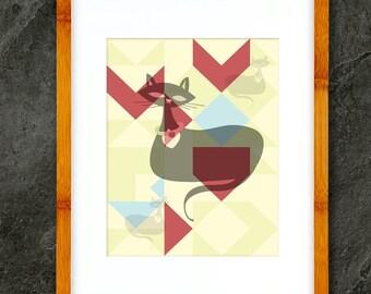 Digital Art Print  Cool Kitty Olivia