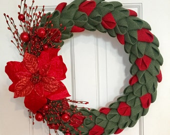 Green and Red Poinsettia Burlap Petal Wreath, Christmas Wreath, Burlap Wreath, Front Door Wreath, CircleDecorWreaths