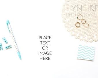 Styled Stock Photo | Desk Flatlay White and Mint Minimalist | Photography Digital Image