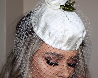 FREE POSTAGE in AUSTRALIA Ivory satin Bridal pillbox  fascinator with birdcage veil