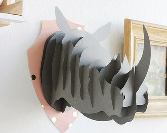 3D Rhino Faux Taxidermy wall art