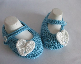 Baby shoes of Mary Janes ballerinas aqua approx. gr. 16/17 foot 10 cm cotton