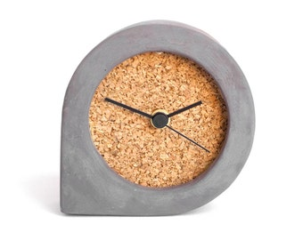 Dark concrete and cork table clock - Comma clock black