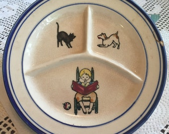 Antique Maruhon Ware child's divided plate