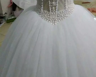 Wedding dress Corset Bodice Sheer Bridal Ball Gown