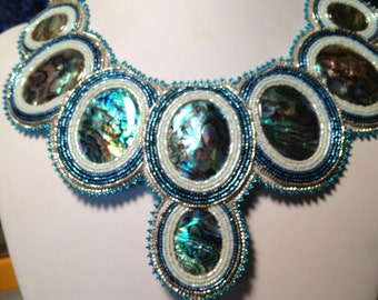 Abalone and mother of pearl beaded collar