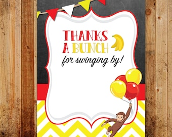 Curious George Birthday Party Thank You Card | Yellow, Monkeys, Bananas, Balloons