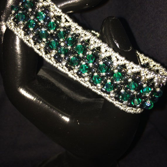 NO 58 Hand woven crystal and glass bracelet