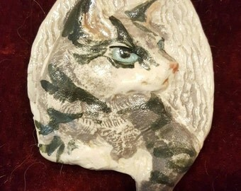 Grey Tabby cat porcelain pin